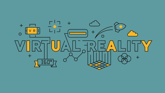 Design de linha plana de realidade virtual