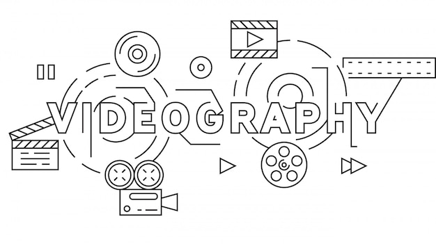 Design de linha plana de videografia