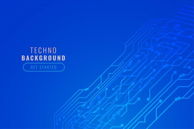 Design de linhas de circuito de tecnologia digital azul