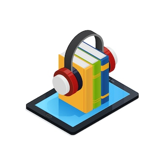 Design de livros de áudio on-line isométrico