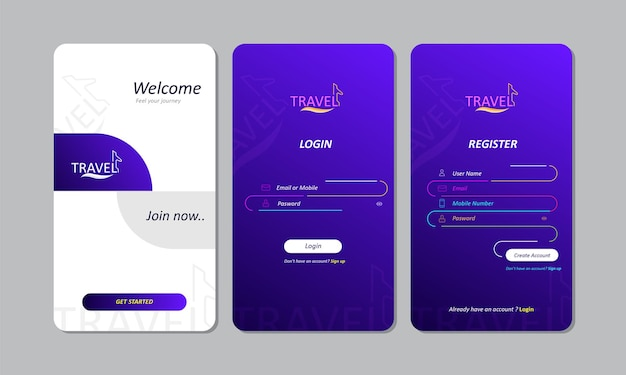 Design de login do aplicativo móvel para viagens