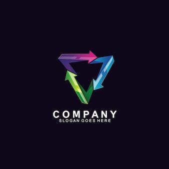 Design de logotipo 3d de setas e triângulo