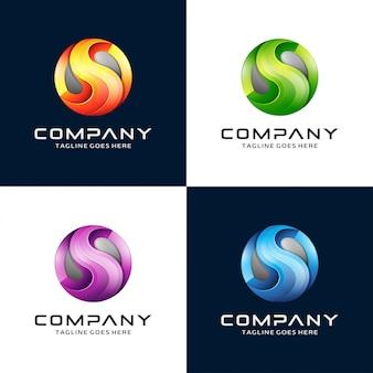 Design de logotipo 3d letra s com logotipo do círculo
