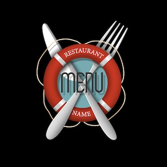 Design de logotipo 3d retrô para restaurante de frutos do mar