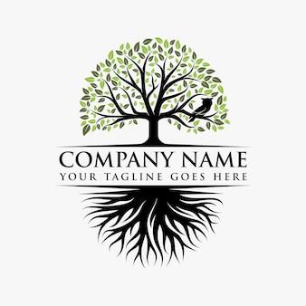 Design de logotipo abstrato árvore vibrante
