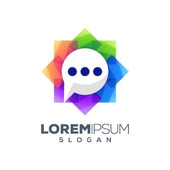 Design de logotipo abstrato colorido bate-papo