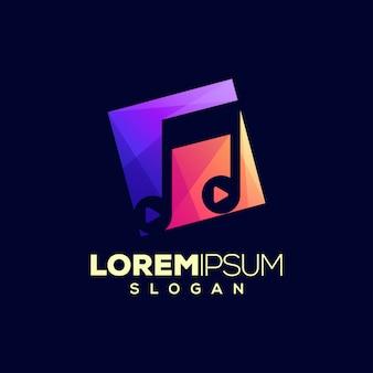 Design de logotipo abstrato colorido música