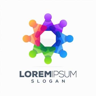 Design de logotipo abstrato colorido pessoas