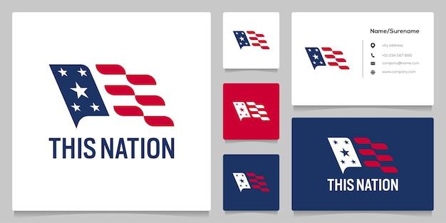 Design de logotipo abstrato da bandeira americana nacional com cartão de visita