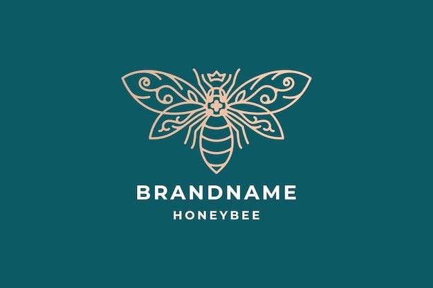 Design de logotipo abstrato de abelha de mel de luxo