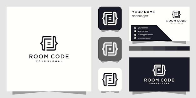 Design de logotipo abstrato de código de sala e cartão de visita