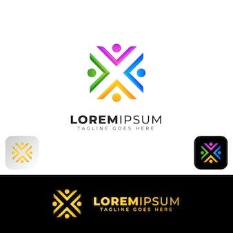Design de logotipo abstrato de equipe de pessoas