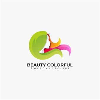 Design de logotipo abstrato de ilustração colorida de beleza