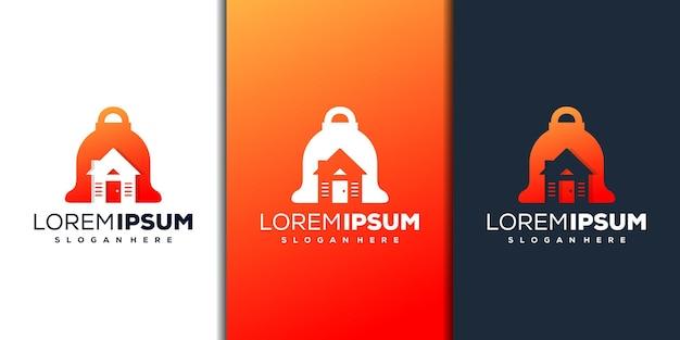 Design de logotipo abstrato de sino e casa