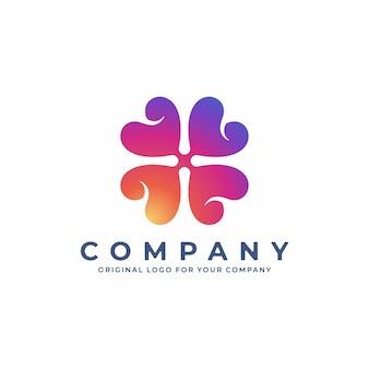 Design de logotipo abstrato de trevo com gradiente de cor