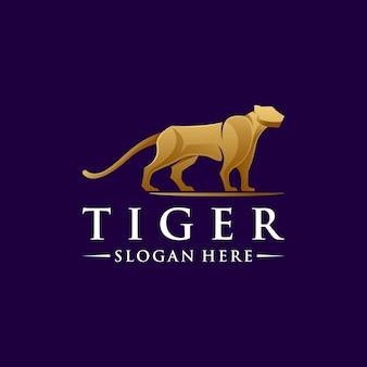 Design de logotipo abstrato tigre premium com vetor