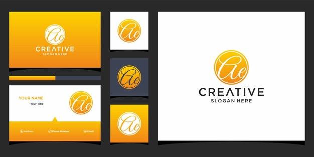 Design de logotipo ae com modelo de cartão de visita