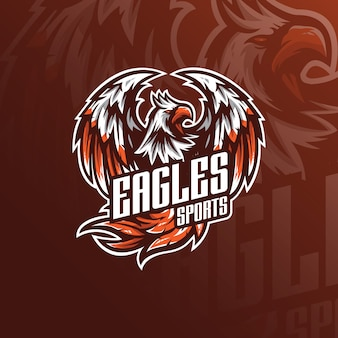Design de logotipo águia v mascote com estilo moderno conceito de ilustração