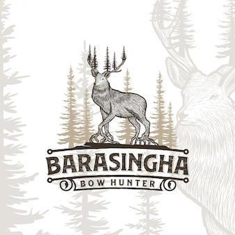 Design de logotipo ao ar livre de aventura de caça ao veado barasingha