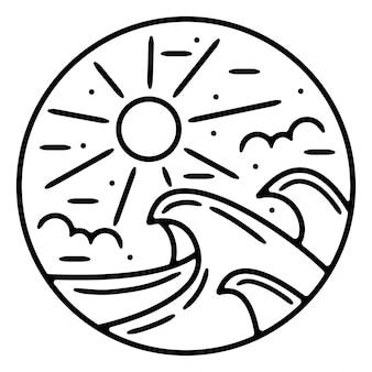 Design de logotipo ao ar livre de onda monoline