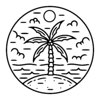 Design de logotipo ao ar livre de praia monoline