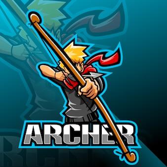 Design de logotipo arqueiro esport mascote