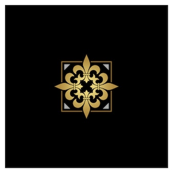 Design de logotipo artístico dourado flor de lis de prata