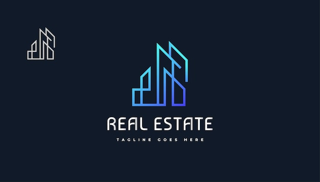 Design de logotipo azul abstrato e futurista imobiliário com estilo de linha. construção, arquitetura ou design de logotipo de construção