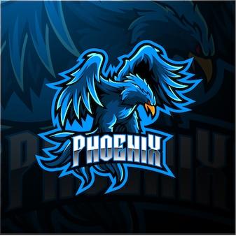 Design de logotipo azul mascote esport phoenix