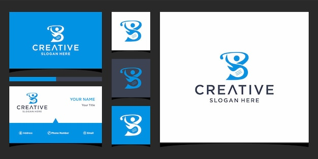 Design de logotipo b golfe com modelo de cartões de visita