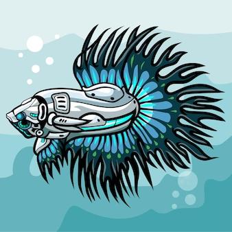 Design de logotipo betta fish mecha robô mascote esport