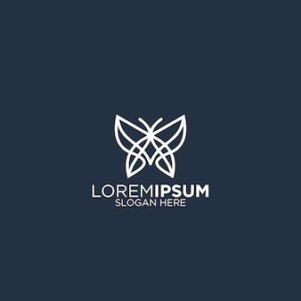 Design de logotipo bonito borboleta arte linha