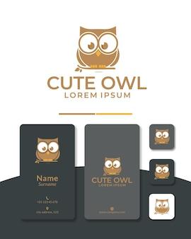 Design de logotipo bonito coruja sabedoria inteligente para educação escola