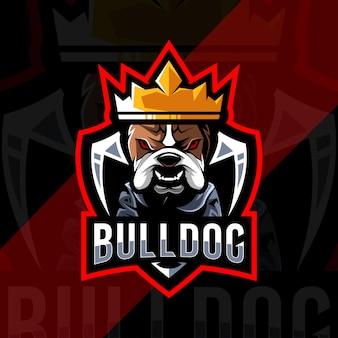 Design de logotipo bonito rei buldogue mascote