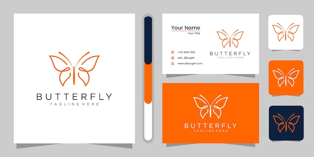 Design de logotipo borboleta e cartão de visita