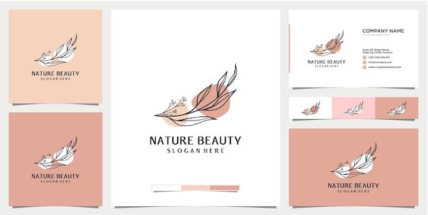 Design de logotipo botânico floral da natureza com modelo de cartão de visita
