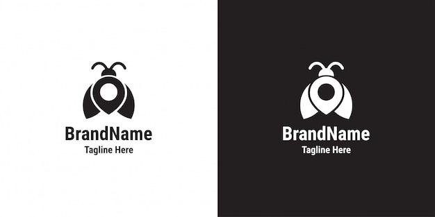 Design de logotipo bug pin. besouro, pin mapa, modelo de logotipo