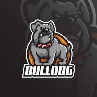 Design de logotipo buldogue mascote com estilo moderno conceito de ilustração para impressão de crachá, emblema e camiseta.