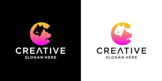 Design de logotipo c gato e cachorro