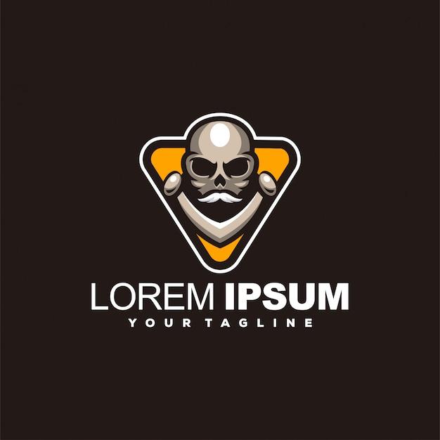 Design de logotipo cabeça crânio incrível