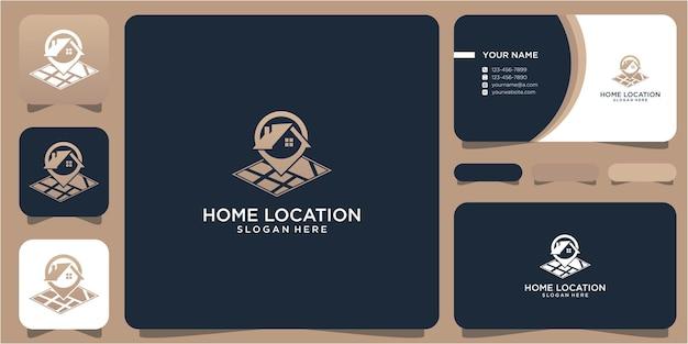 Design de logotipo, casa e localização