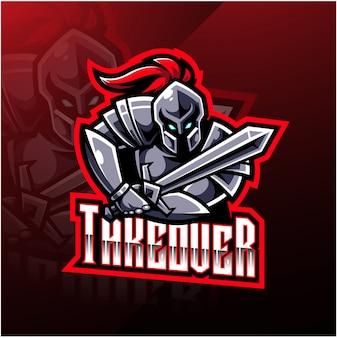 Design de logotipo cavaleiro esporte mascote
