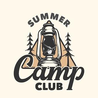 Design de logotipo clube de acampamento de verão com ilustração vintage de lanterna de acampamento