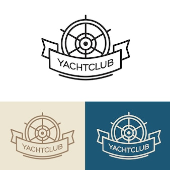 Design de logotipo clube iate. ilustração isolado no fundo branco.