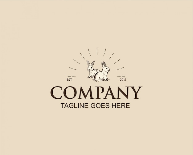 Design de logotipo coelho vintage