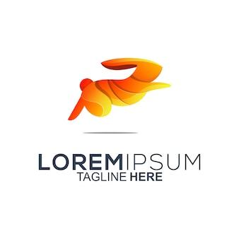 Design de logotipo colorido coelho