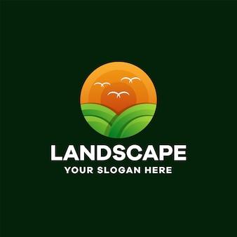 Design de logotipo colorido com gradiente de paisagem