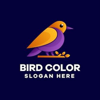 Design de logotipo colorido com gradiente de pássaro