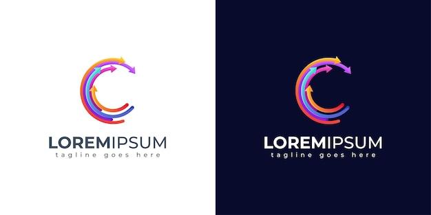 Design de logotipo colorido com letra c