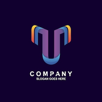 Design de logotipo colorido com letra t